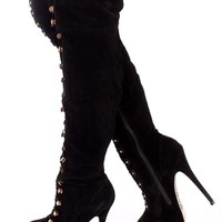 Black Looped Thigh High Platform Boots Faux Suede