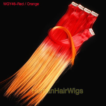 12pcs 18inch Clip in Rainbow Colorful Hair WGY46 Red / Orange Ombre Dip Dyed Hippie Hair Extension Weft Clip Extensions Free People