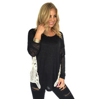 Black Sideline Sweetheart Crochet Top