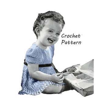 Cute Toddler Girl's Dress Sizes 2 and 3 Crochet Pattern || Vintage 1940's || Reproduction PDF Instant Download Mischievous Miss 5264