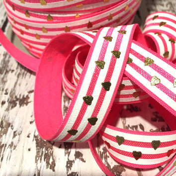 """Passionfruit White Gold Foil Hearts 5/8"""" Fold Over Elastic, FOE, Hair Accessory Supplies"""