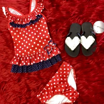 2018 Isobella & Chloe Red White Blue Tank Two Piece Swim Suit