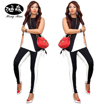 2017 new two piece set white black patchwork 2 piece set women set sexy fashion sleeveless top and long pants womens tracksuit