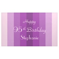 Personalized 95th Birthday Sign Purple Stripes