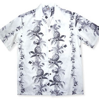 pineapple dance white hawaiian cotton shirt