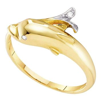 10kt Yellow Gold Women's Round Diamond Dolphin Fish Animal Wrap Ring .03 Cttw - FREE Shipping (US/CAN)