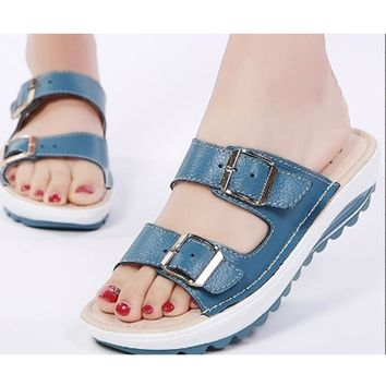 Fashion Women's Sandals Wedges Summer Shoes Lady Sexy Leather Sandals Slippers Slip-on Platform Casual Shoes Female OR911361