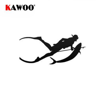 KAWOO 19*9CM Free Diving Fork Fish Funny Car Stickers Motorcycle Sticker Body Window Decals Decoration Auto Stickers Car-Styling