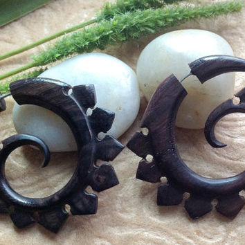 "Fake Gauge Earrings, ""Fin Spirals"", Snapper Style, Natural, Sono Wood, Handcrafted"