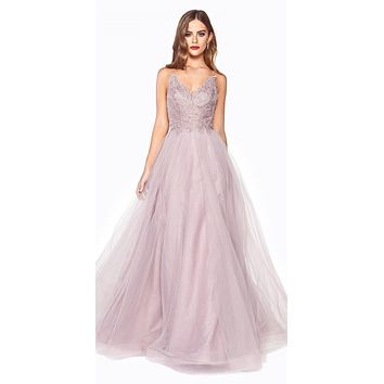 Mauve Long Prom Dress with Appliqued Bodice
