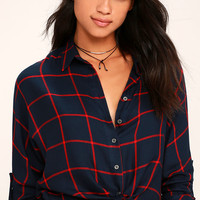 Exact Coordinates Red and Navy Blue Grid Print Top
