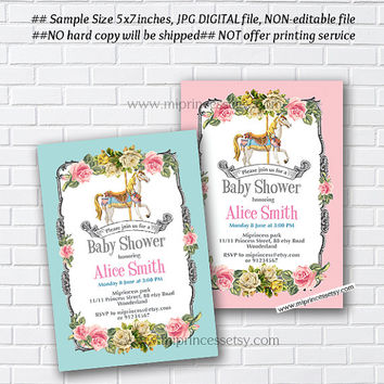 Baby shower, Carousel invitation, Merry go round baby shower , pony vintage design for baby girl shower retro invite circus - card 879