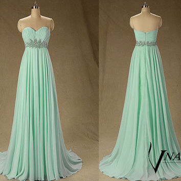 2014 New Arrival Sweetheart Sleeveless Beaded Crystal A Line Long Formal Crystal Mint Green Prom Dresse 2014 Formal Evening Dresses