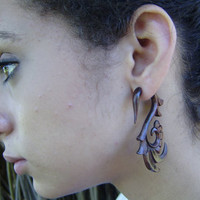 Fake gauge Wood Organic  Earrings Tribal Expander Split Anela's hawaii