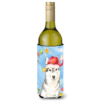 Christmas Lights Siberian Husky Wine Bottle Beverage Insulator Hugger CK2495LITERK