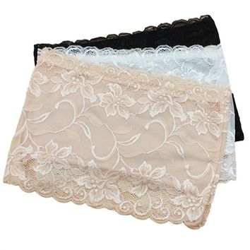 3pcs Women's Floral Lace Stretchy Strapless See Through Bandeau Tube Top