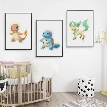 Canvas Painting Picture Decoration Splash Abstract Watercolor Pokemon Pikachu A4 Wall Art Painting Print Poster Home Decoration