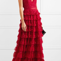 Needle & Thread - Marie tiered embellished tulle gown