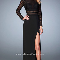 Long La Femme Black Long Sleeve Prom Dress