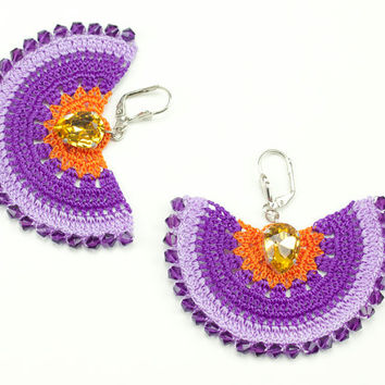 Purple Crochet Lace Earrings - Dangle - Swarovski Elements - Rhinestone - Statement Jewelry - Semicircle Geometric - Fiber Art Jewelry