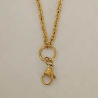 "Stainless steel gold 30"" necklace with ""O"" ring for living memory floating locket"