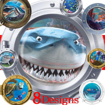 submarine porthole wall stickers fantastic sealife room decoration coral shark fish scuttle animal home decals kid mural art 4.5