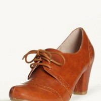 morgan lace-up pumps in tan by Chelsea Crew at ShopRuche.com