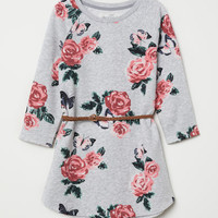 Sweatshirt Dress - Light gray melange/roses - Kids | H&M US