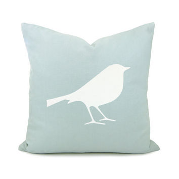 Bird pillow case - White bird print on aquamarine cotton fabric decorative pillow cover - 16x16 accent pillow cover, CIJ sale