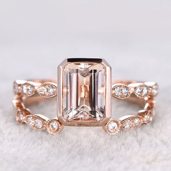 Rose Gold Morganite Wedding Set Diamond Half Eternity Ring Emerald Cut Open Gap Stacking Band 14k/18k