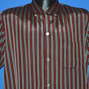 50s Fedcal California Acetate Striped Button Down shirt Large