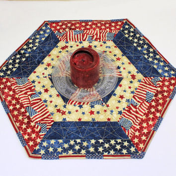 Hexagon Patriotic Table Runner Quilt or Candle Mat, Red White and Blue, Country Table Topper, 4th of July decor, Quiltsy Handmade