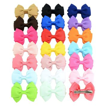 20Pcs/lot 2.6 Inch High quality Lovely Girls Bow Tie Hair Clip Solid Grosgrain Ribbon Bow-knot Hairpins Hair Accessories 762