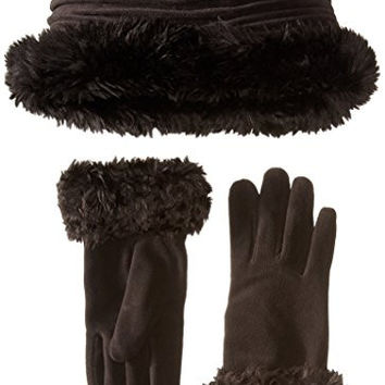 Isotoner Women's Stretch Fleece Hat and Glove Set, Black, One Size