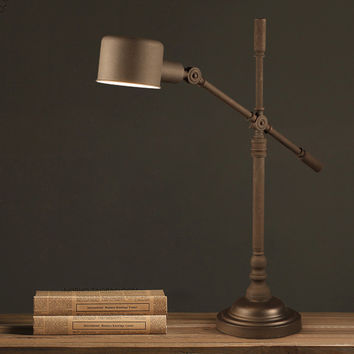 Vintage Chic Fully Adjustable Table Lamp Blends Classic Details with Rustic Metal