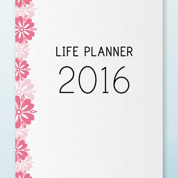2016 PLANNER Printable Letter Size PDF Weekly Monthly Yearly Calendar Dated Filofax Insert Goal Planner Instant Download. 105 pages!