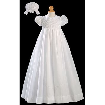 Smocked Bodice & Embroidered Cotton Heirloom Christening Gown Baby Girls 0-24M