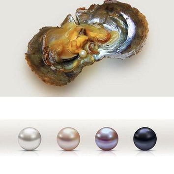 Freshwater Cultured Pearl Oysters 1Pcs Round Pearl Inside (6-8mm)