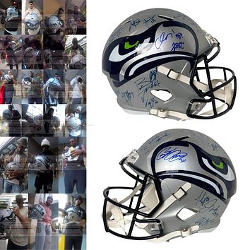 2019 Seattle Seahawks Team Autographed Riddell AMP Speed Style Full Size Football Helmet, Proof Photos, Beckett A58693
