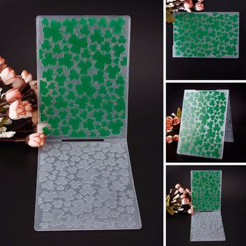 Plastic Embossing Folder Green Clovers Template DIY Scrapbooking Card Making Decoration Papercraft #230597