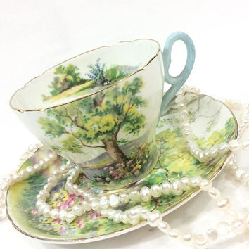 Shelley Woodland Tea Cup and Saucer, Cambridge Cup Shape, Rural Scene, English Tea Cup, Cottage Style Decor, 1940s, Vintage Tea Cup