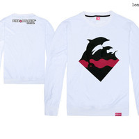 4 Colors Hot Sale New Spring & Autumn Cotton Pink Dolphin Waves Depth Black Jumping Dolphin Men's O-Neck Long Sleeve Tee Shirts
