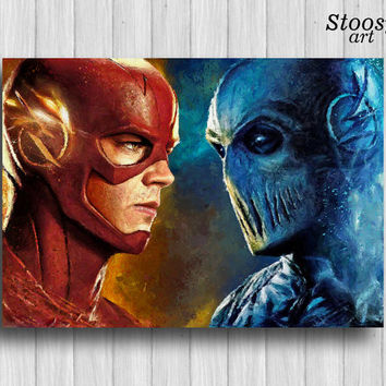 Zoom vs Flash poster super hero decor the flash art dc comics