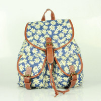 Daisy Flower Printed Cute Large Backpacks for School Bag Canvas Daypack Travel Bag
