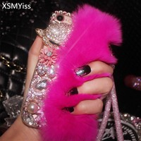 XSMYiss Luxury Rabbit Fur Diamond Fox Head Flower Pearl Phone Case For iPhone X 7 8 Plus 6 6s Plus 5S SE 5C Back Case