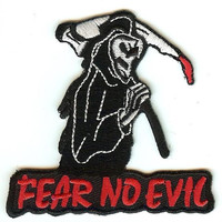 Grim Reaper Iron-On Patch Fear No Evil Logo