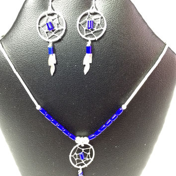 """21"""" Sterling Silver Dark Blue Lapis Lazuli  Dream Catcher Necklace and Earrings Set"""