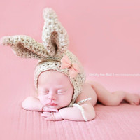 New! Chunky Bunny Ears Beanie for Newborn Baby Girl Photography Prop 1st Photo Easter Baby Shower Gift Oatmeal Color Newborn to 3mo Hat Bonnet