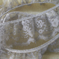 3 YARDS,   Grey Ruffled Lace Trim