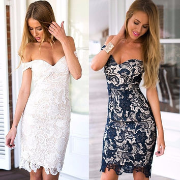 Women's Fashion Sweetheart Neck Body-Conscious Crochet Lace Mini Dress 2Colors = 5739030145